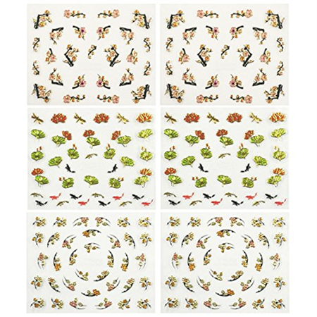 Fingernail Stickers Nail Art Nail Stickers Self-Adhesive Nail Stickers 3D Nail Decals - Asian Inspired Lotus, Ginkgo Leaves, Cherry Blossoms & Koi (3 designs/6 sheets)](Halloween Fingernails Designs)