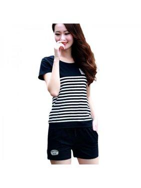 15e98e0b8b0 Product Image Ropalia 2PCS Summer Women Sport Striped Short Sleeve  T-Shirt+Shorts Outfit Set