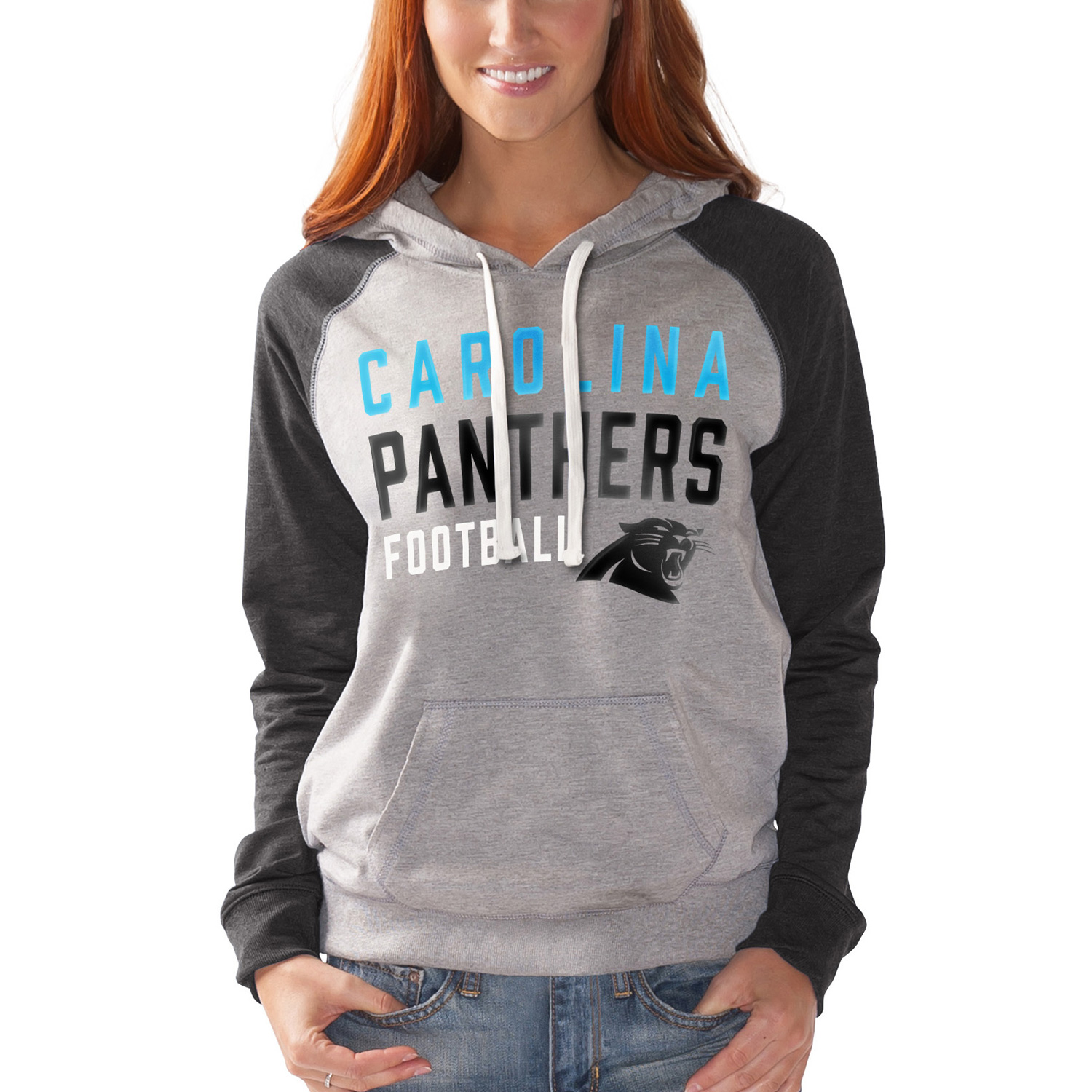 Carolina Panthers G-III 4Her by Carl Banks Women's West Coast Pullover Hoodie - Heathered Gray