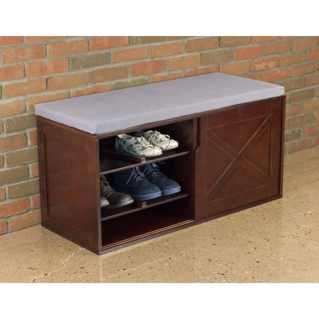 Merry Products  Brown Upholstered-top Windsor Shoe Bench