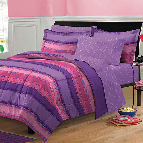 My Room Tie Dye Complete Bed in a Bag Bedding Set, Purple/Plum