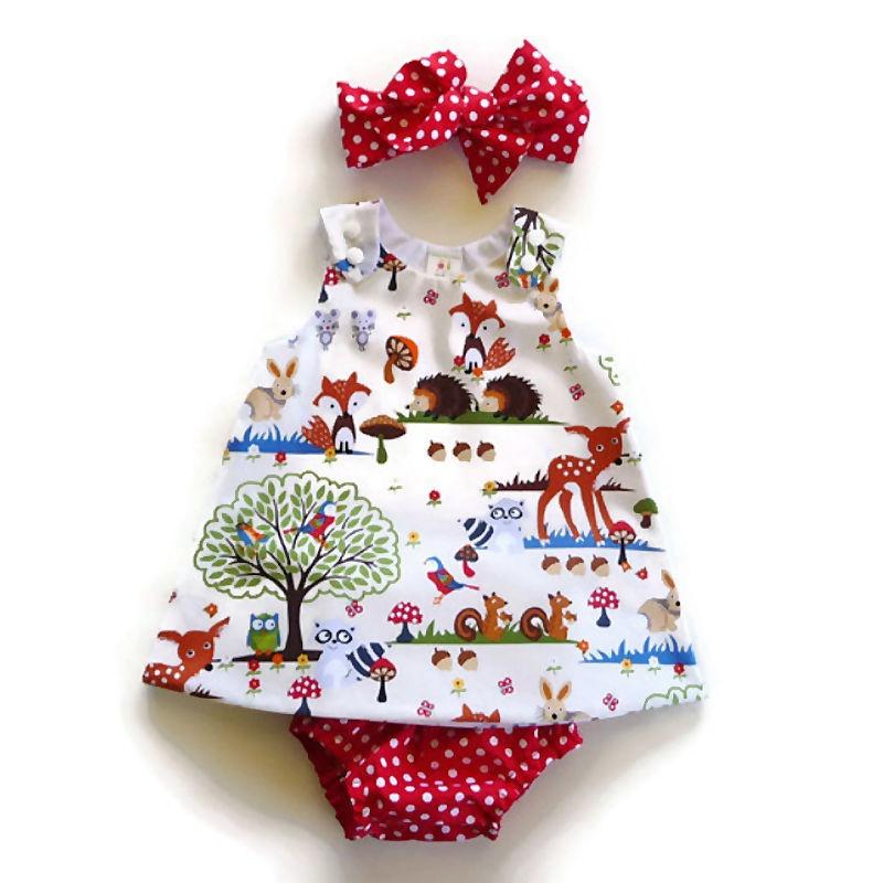 3PCS Newborn Toddler Clothes Baby Girls Dress+Pants Shorts+Headband+Outfit Sets
