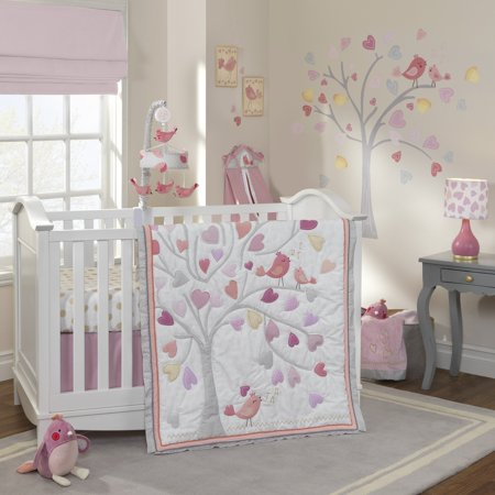 Lambs & Ivy Love Song 4-Piece Crib Bedding Set - Pink, Gold, White, Hearts, (Baby Lamb Pictures)
