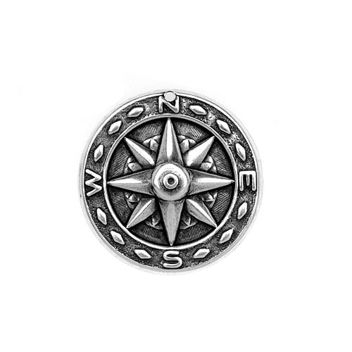 Antiqued Silver Plated Stamping Steampunk Compass Pendant 25mm (1)
