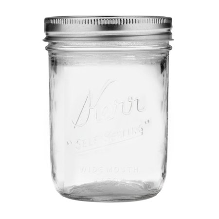 Kerr Wide Mouth Pint Glass Mason Jar w/Lid & Band, 16 Ounces, 12 Count - Gold Mason Jars