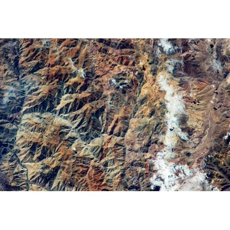 San Juan Argentina - Satellite view of Andes Mountain range in San Juan Province, Argentina Print Wall Art