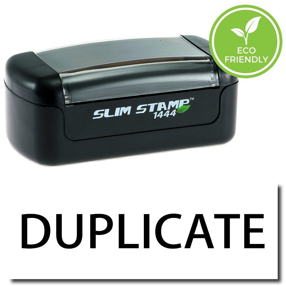 Slim Pre-Inked Duplicate Stamp with Black Ink