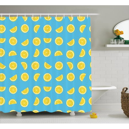 Yellow And Blue Shower Curtain Fresh Lemon Slices Fruit Happy Summer Sun Exotic Vacation Holiday