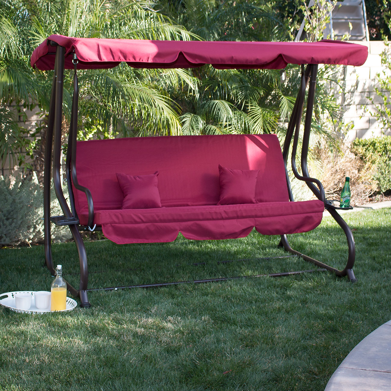 Belleze 3 Seat Porch & Patio Swing / Bed with pillow -Burgundy