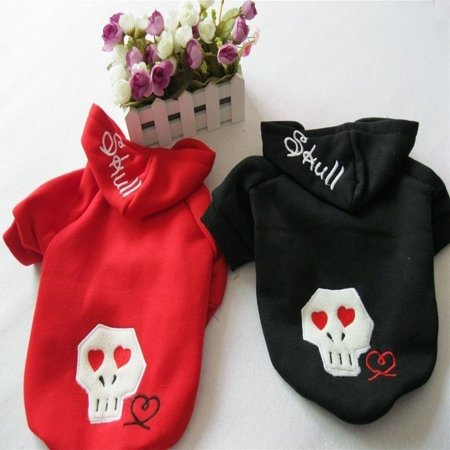 "For SMALL Pet Cat Dog Sweatshirt Jumper SKULL Warm Hoodie Coat Jacket Red sz S: length - 8.5"", chest up to 12"""