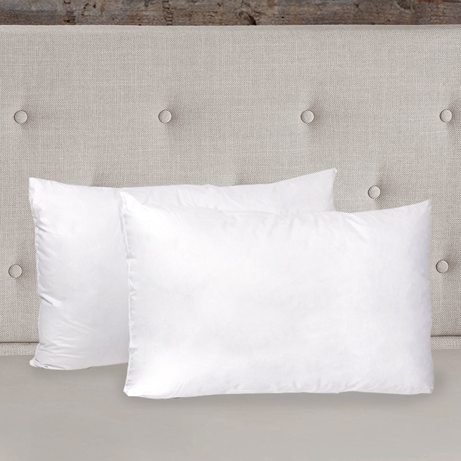 """19 by 26"""" Down Alternative Hypoallergenic Supreme Comfort Fiber Fill Pillow (Pack of 2), Standard, White, All pillows are shipped 2 per package By Sweet Home Collection,USA"""