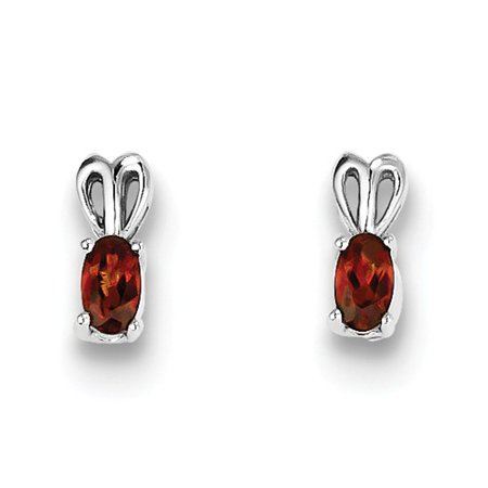 Sterling Silver Post Earrings Polished back Rhodium-plated Garnet Earrings - .57 cwt