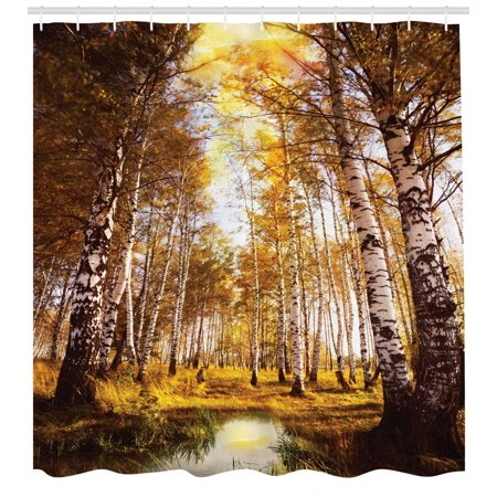Tree Shower Curtain Autumn Season Forest In Sun Rays Near The River Morning Idyllic
