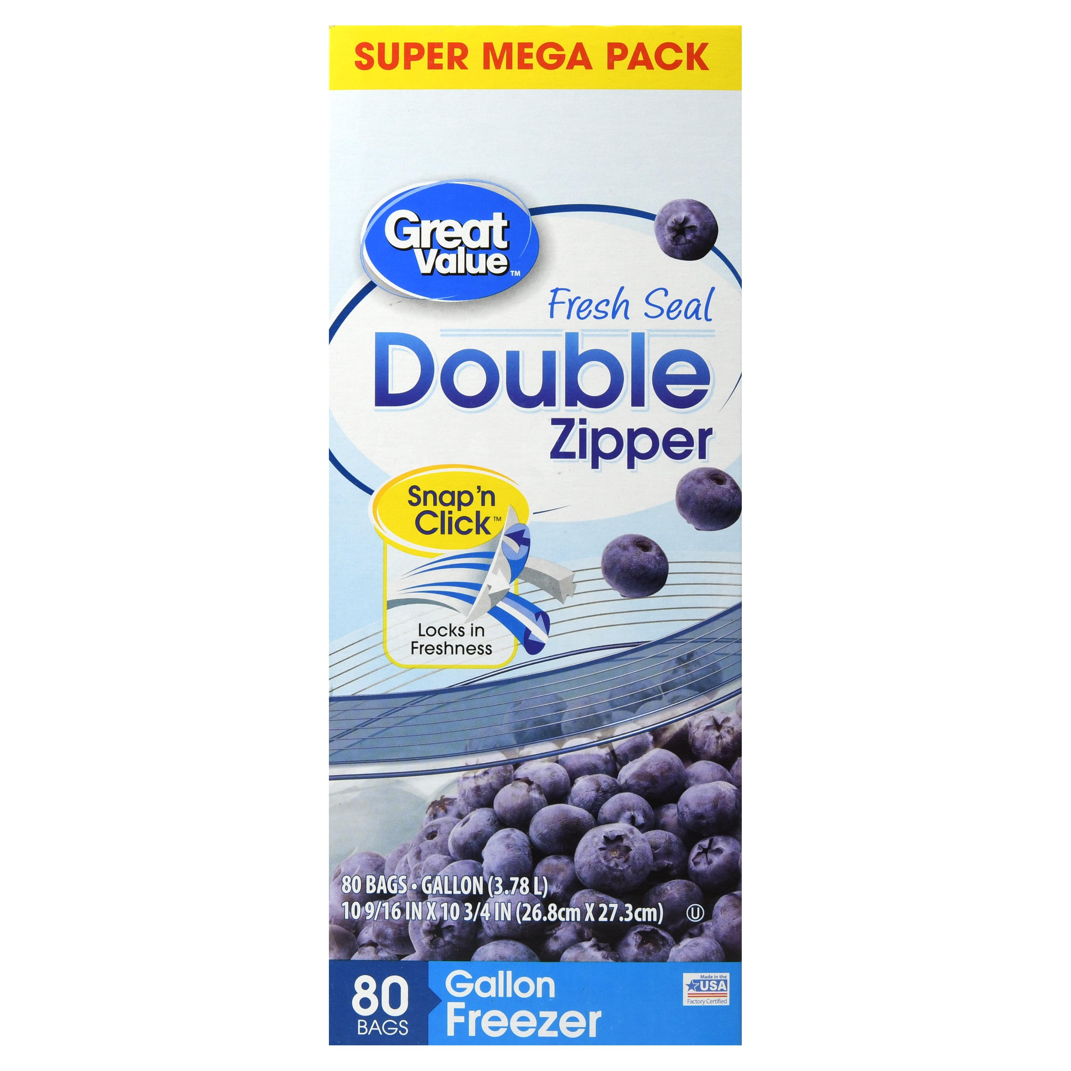 Great Value Double Zipper Freezer Bags, Gallon, 80 Count