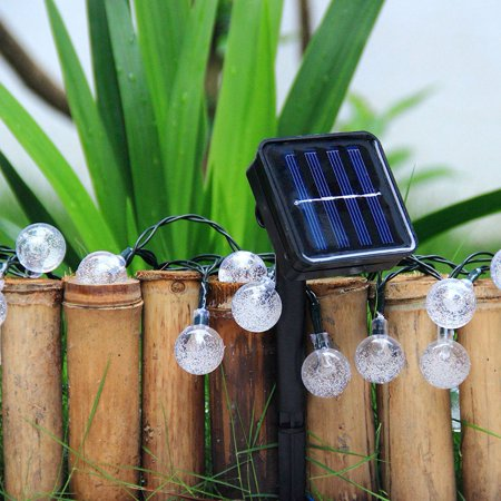 WALFRONT Solar Powered 30LED Globe Balls  String Lights Home Garden Yard Party Lamp Decoration, LED Ball String Lights, Solar LED String Lights