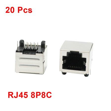 Lan Jack (Unique Bargains 20Pcs PCB Mount Right Angle Pins 8P8C RJ45 Connector Jack 15mm Long for LAN)