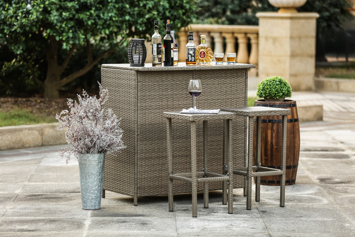 Gentil 3 Piece Wicker Patio Bar Counter Serving Table Set With Two Stools For  Outdoor   Walmart.com