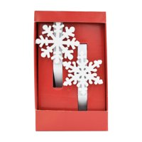 Holiday Time White Snowflake Christmas Stocking Holders (Set of 2)