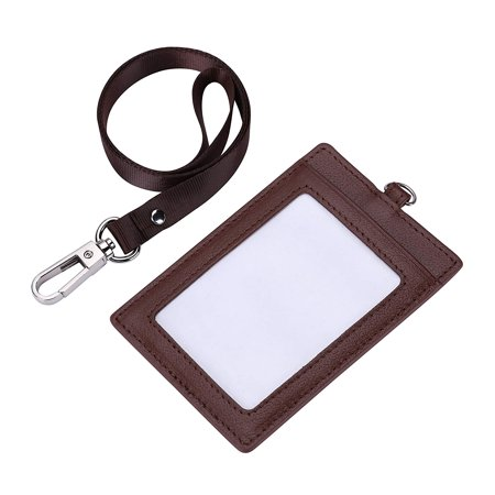 Genuine Leather 2-Sided ID Badge Holder with Lanyard, Card Holder Wallet(Brown)