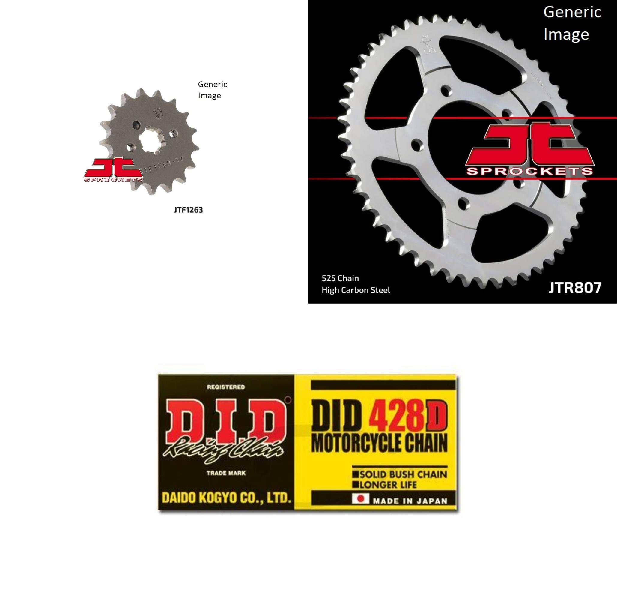 DID Standard 428D Chain Natural, JT Front & Rear Sprocket Kit for Street KAWASAKI G5100 1984-1992