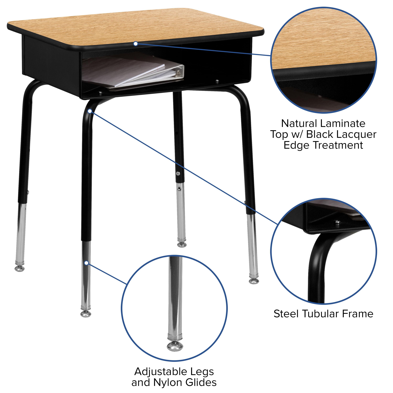 Flash Furniture Wood Adjustable Height Open Front Desk Walmart Com Walmart Com