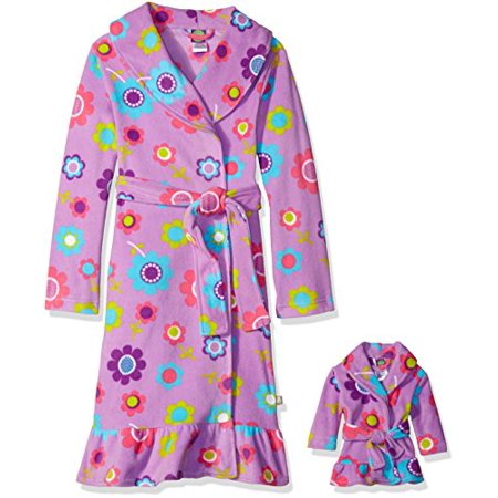Dollie And Me Big Girls' Floral Printed Fleece Robe with Matching Doll Robe, Large (Dolly And Me Pajamas)