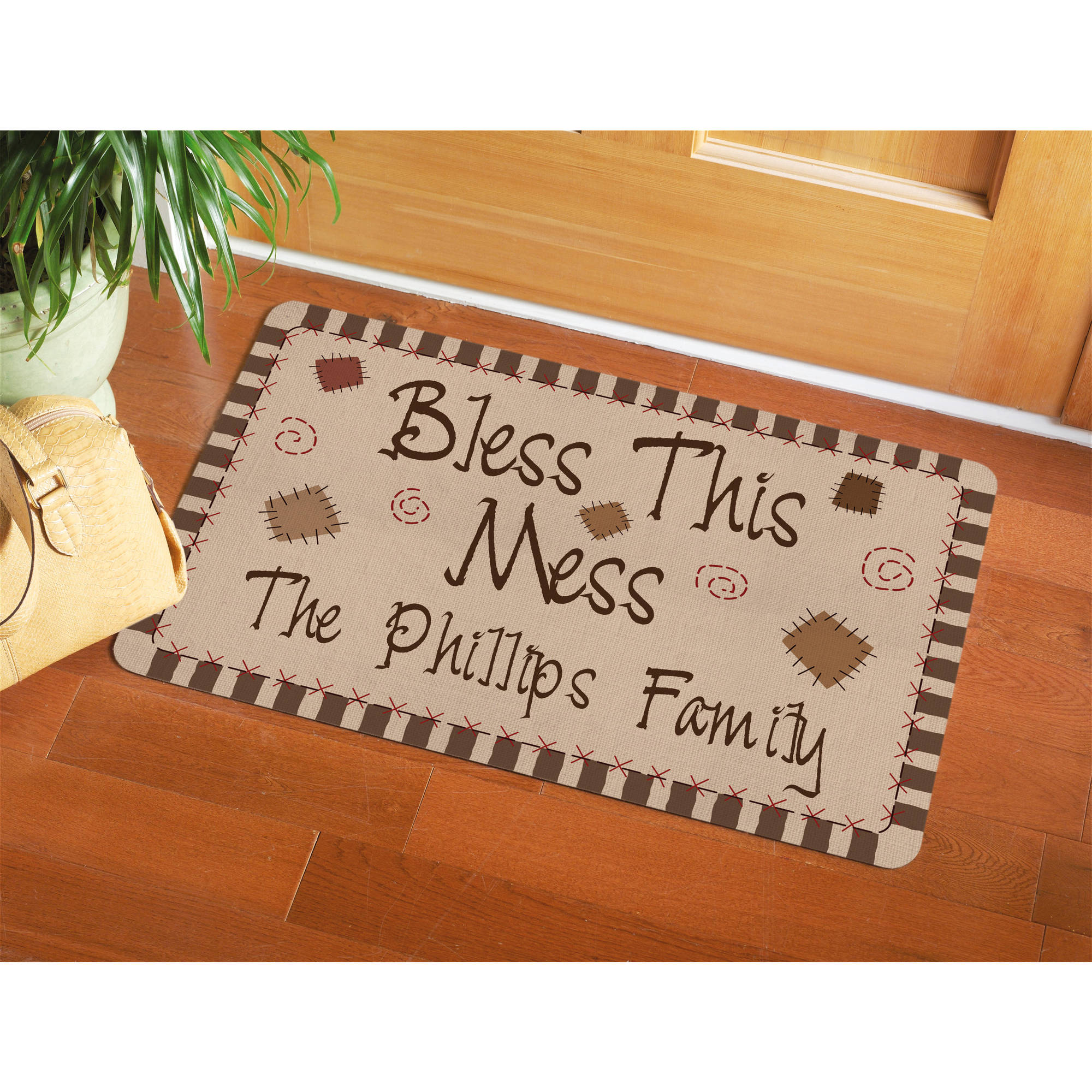 """Personalized """"Bless This Mess"""" Doormat"""