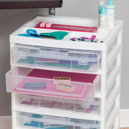 IRIS 6-Case Scrapbook Storage Cart, White](Craft Storage Containers)