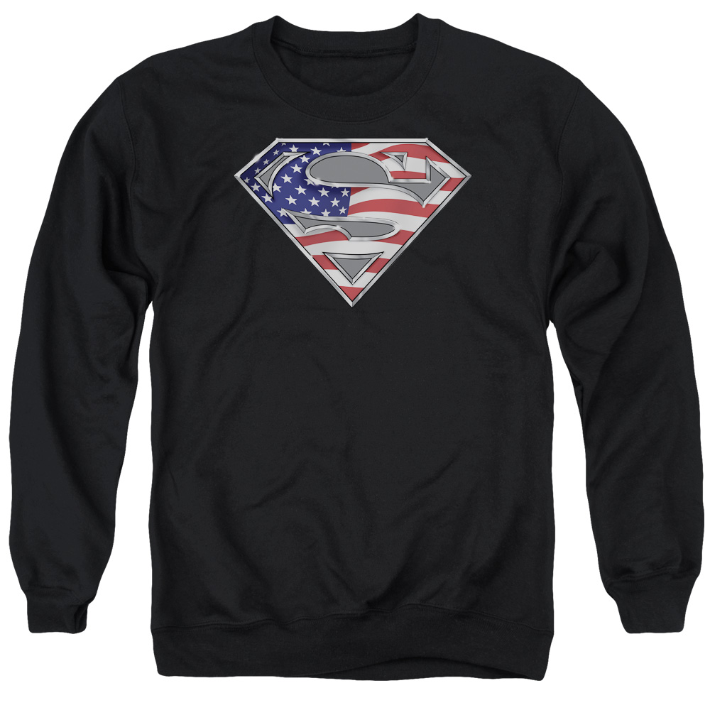 SUPERMAN/ALL AMERICAN SHIELD - ADULT CREWNECK SWEATSHIRT - BLACK - XL