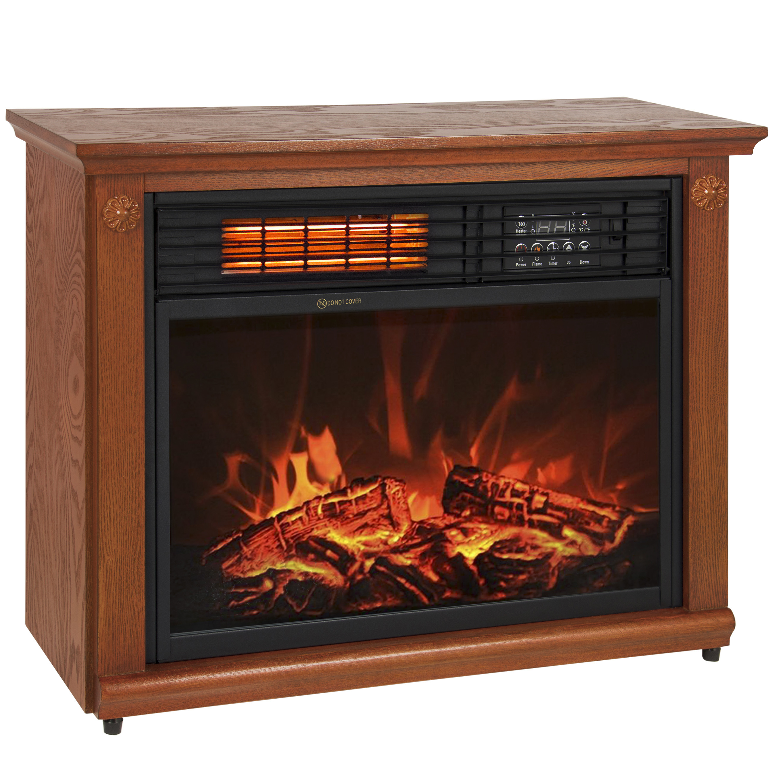 large room infrared quartz electric fireplace heater honey oak finish w remote walmart