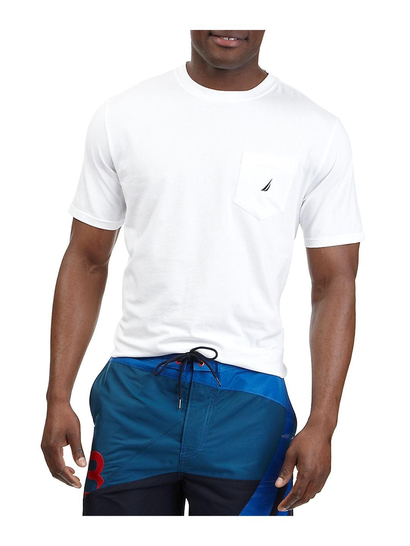 Nautica V41050 Solid Anchor Crew Neck Pocket T-Shirt