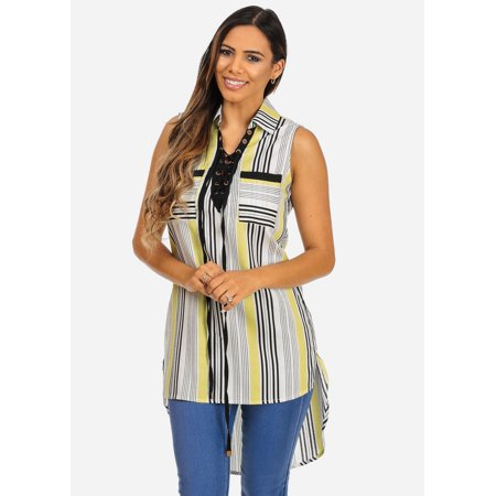 6afa75f8c76e ModaXpressOnline - Womens Juniors White Yellow Front Lace-Up Stripped  Sleeveless 2-Pocket High Low Tunic 40824Y - Walmart.com