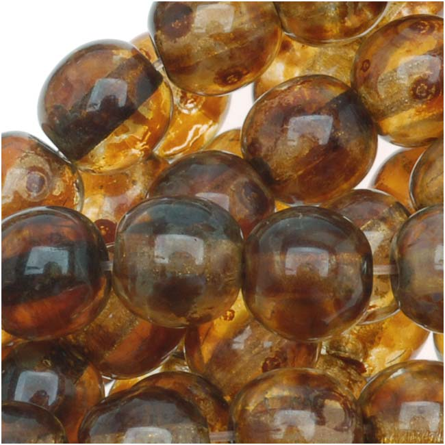 Czech Glass Druk Round Beads 6mm Crystal Picasso (50)