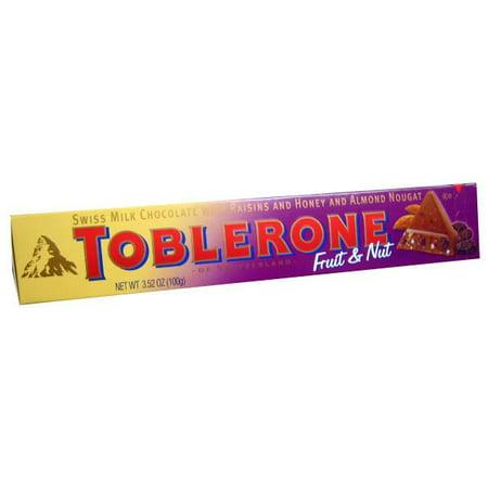 Toblerone Milk Chocolate, Fruit and Nut, 3.52oz (100g) (Chocolate Toblerone)