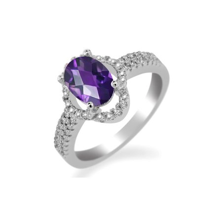1.59 Ct Oval Checkerboard Purple Amethyst 925 Sterling Silver Ring
