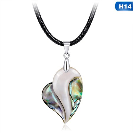KABOER Lovely Vintage Seashell Abalone Pendant Necklace Natural Gemstone Jewelry Water Teardrop-Shaped Long Chain Gift