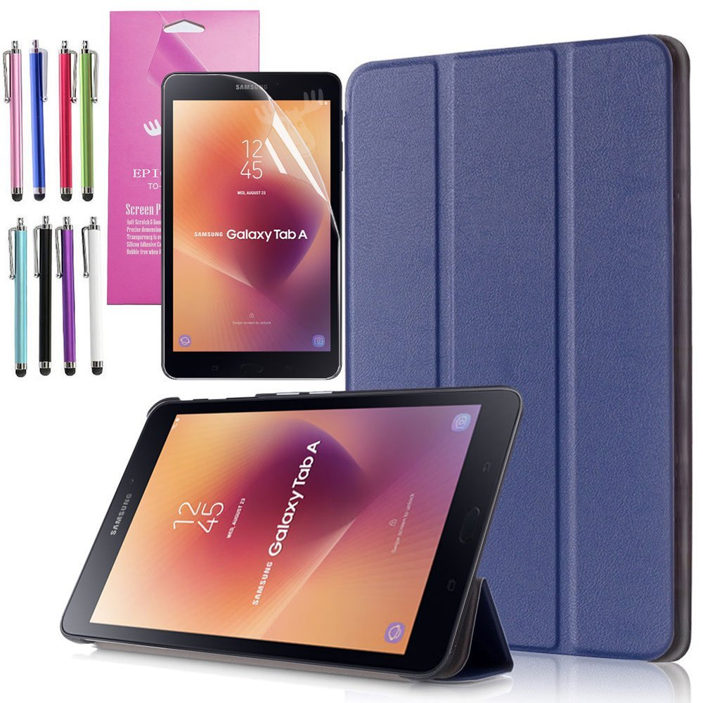 EpicGadget Galaxy Tab A 8.0 (2017) Case, Tri-fold Stand Lightweight Slim Cover PU Leather Case For Samsung Galaxy Tab A 8 (T380/T385) released in 2017 (Navy Blue)