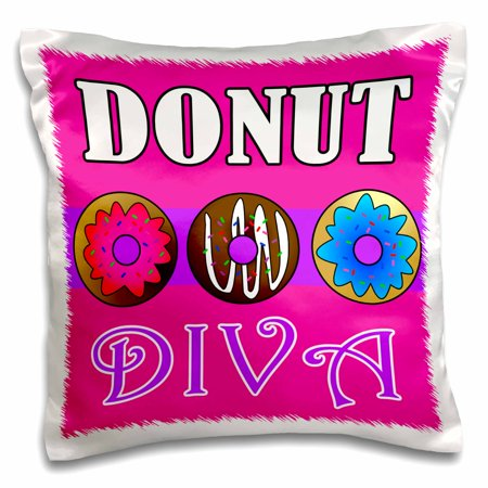 3dRose Donut Diva - Kawaii Sweets - Pink, Pillow Case, 16 by 16-inch - Small Pink Sweets