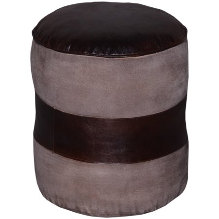 Excellent Beaumont Lane Round Leather Ottoman In Brown Evergreenethics Interior Chair Design Evergreenethicsorg