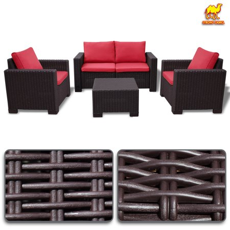 Strong Camel 4PC Rattan Patio Sofa Garden w Cushions Lounge Furniture Set Weather Resistant (Red)