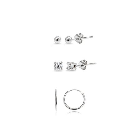 3 Pairs Sterling Silver Lightweight Unisex 10mm Mini Small Continuous Endless Hoops, Tiny Round 2mm CZ & Ball Bead Stud Earrings Set