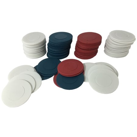 Box of 100 Plastic Red White and Blue Poker Chips (Customized Poker Chips)