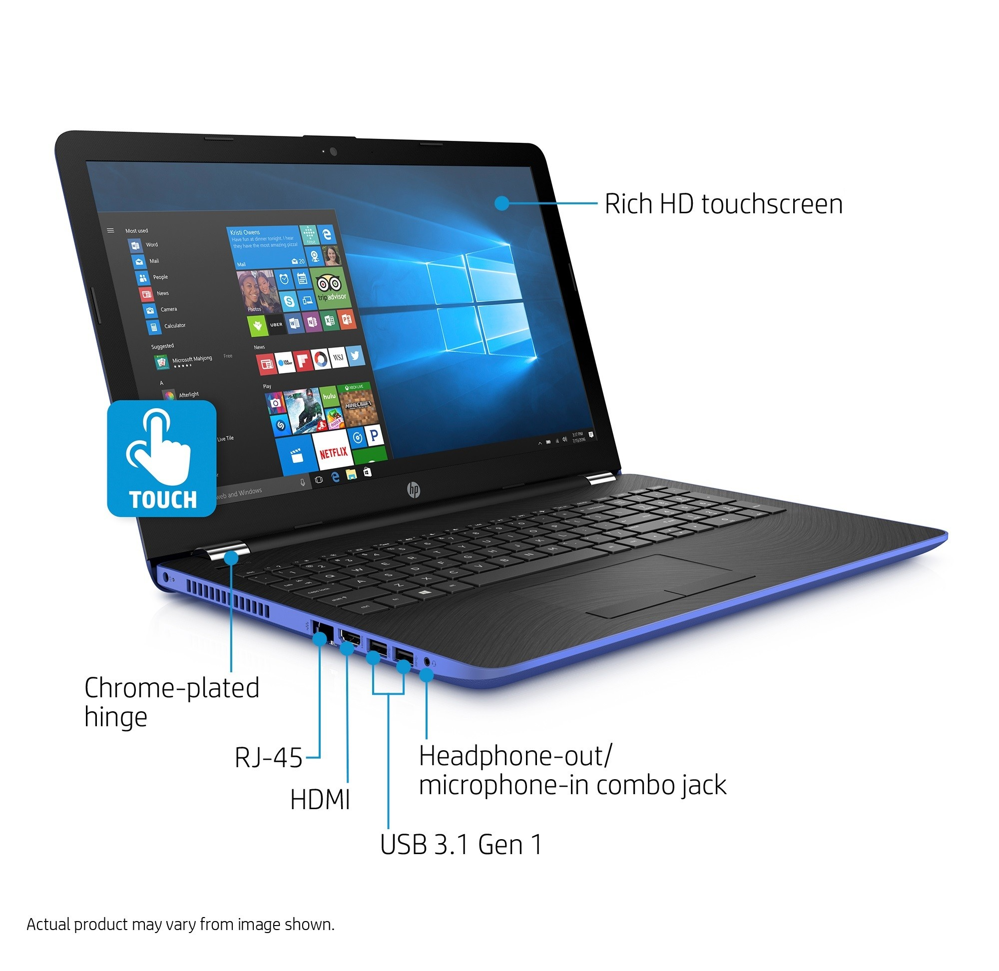 "HP Premium Flagship Laptop 15.6"" Touchscreen Intel Core i3 Dual-core 2.40 GHz, 8GB RAM, 2TB HDD, Intel HD, DVDRW, WLAN, Webcam, USB 3.0, HDMI, Windows 10 - Marine BLUE"