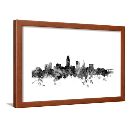 Skyline Framed (Cleveland Ohio Skyline Framed Print Wall Art By Michael Tompsett)