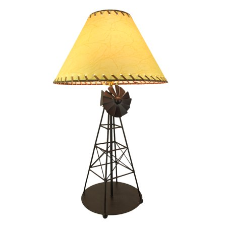 Rustic Brown Industrial Windmill Metal Table Lamp ()