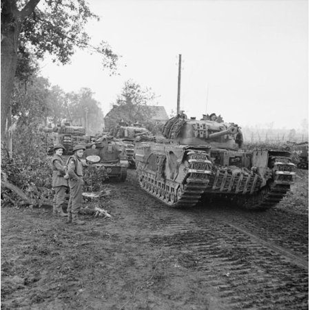 Canvas Print Churchill tanks of 6th Guards Tank Brigade move up in support of 15th (Scottish) Division during the Stretched Canvas 10 x (Top 10 Places To See In Scotland)