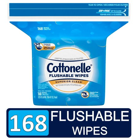 Cottonelle FreshCare Flushable Wet Wipes Resealable Refill Pack, 168 Wipes Per Pack (Cottonelle Toilet Paper Bulk)