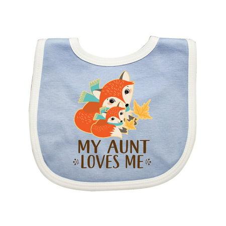 Aunt Loves Me Woodland Fox Baby Bib Aunt Personalized Baby Bib