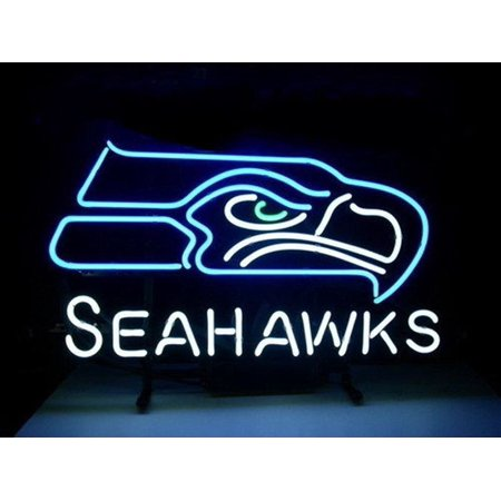 Desung Brand New Seattle Seahawks Neon Sign Handcrafted Real Glass Beer Bar Pub Man Cave Sports Neon Light 20 X 16  Wm14