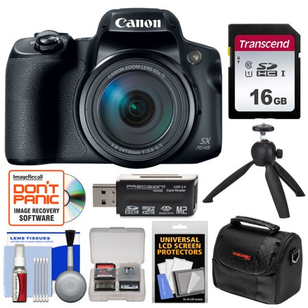 Canon PowerShot SX70 HS 4K Wi-Fi Digital Camera with 16GB Card + Case + Tripod + (Cannon Tom)